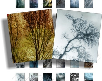 Dark trees images for scrabble pendant, scrapbook and more Size 0.75x0.83 inch Digital Collage Sheet No.281