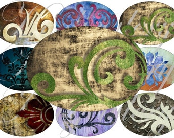 Grunge Swirls in images large oval for belt buckle and more digital collage sheet No.548