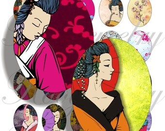Grunge geishas 40x30mm oval images for charms, pendant, buttons, scrapbook and more Vintage Digital Collage Sheet No.603