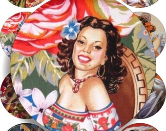 Mexican Calendar girls in large circles for pocket mirrors and more -digital collage sheet no. 629