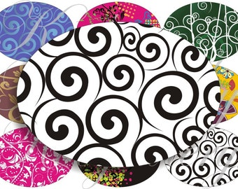 Curly designs large oval for belt buckle and more digital collage sheet No.654