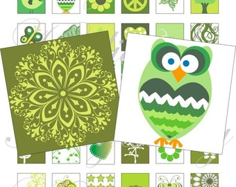 Green Love 1x1 inch for pendant, scrapbook and more Digital Collage Sheet No.661