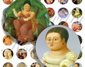 Fernando Botero paintings images for bottle caps, pendant, buttons, scrapbook and more Vintage Digital Collage Sheet No.679