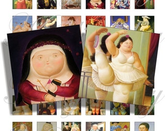 Fernando Botero paintings 1x1 inch for pendant, scrapbook and more Digital Collage Sheet No.682