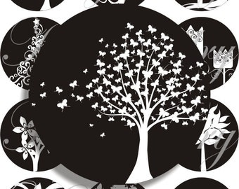 Black and white trees in large circles for pocket mirrors and more -digital collage sheet no. 723