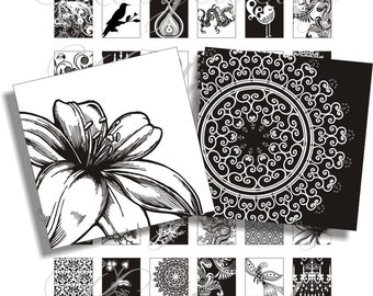New black and white designs 1x1 inch images for pendant, scrapbook and more Digital Collage Sheet No.726