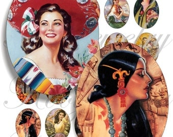 Mexican Calendar girls 40x30mm oval images for charms, pendant, buttons, scrapbook and more Vintage Digital Collage Sheet No.746