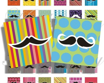 Crazy Mustache images 1x1 inch for pendant, scrapbook and more Digital Collage Sheet No.753