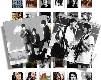 The Beatles 2 images 1x1 inch for pendant, scrapbook and more Digital Collage Sheet No.758