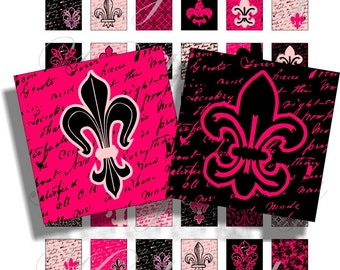 Black and Pink flour de lis 1x1 inch for pendant, scrapbook and more collage sheet No.804
