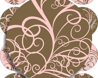 Pink and brown swils images large circles for pocket mirrors and more digital collage sheet No.814