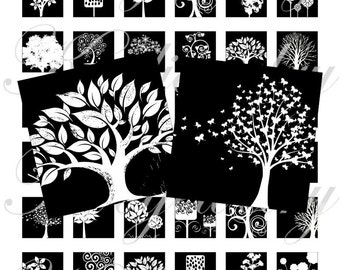 Black and white trees 1x1 inch images for pendant, scrapbook and more Digital Collage Sheet No.871