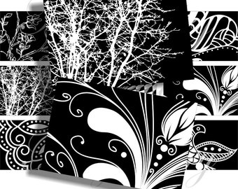 Black and white  images 3x2 inch for belt buckle and more digital collage sheet No.874