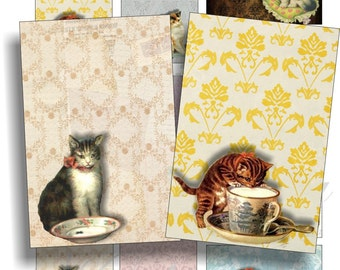 Lovely vintage cats images for cards, ACEO, ATC, scrapbook and more Digital Collage Sheet 3 X 2 inch No.895