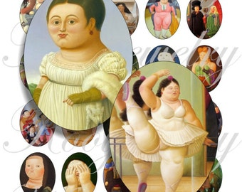 Botero painting 40x30mm oval images for charms, pendant, buttons, scrapbook and more Vintage Digital Collage Sheet No.909