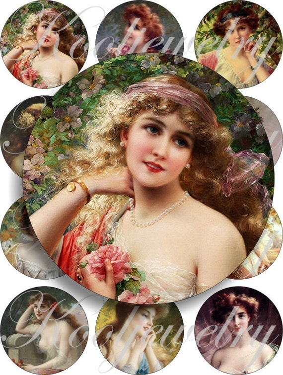 Little Ladies - Emile Vernor for pocket mirrors, buttons and more -digital collage sheet no. 446