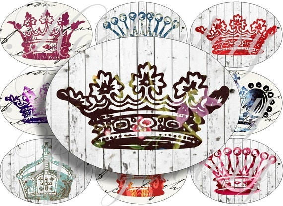 Crazy Crowns images large oval for belt buckle and more digital collage sheet No.474