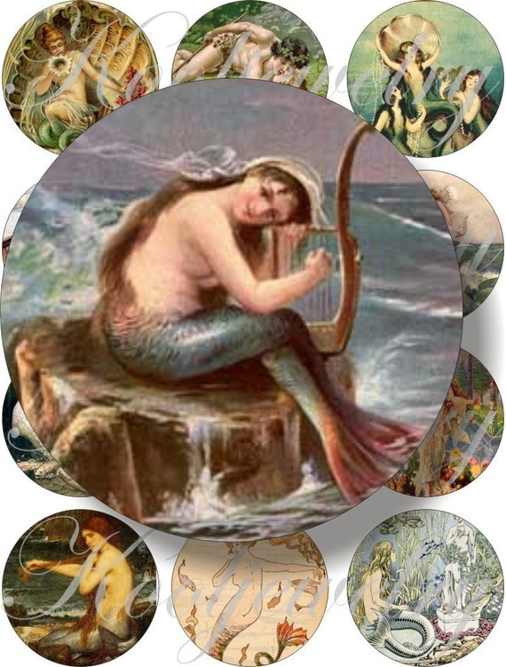 Vintage Mermaids images large circles for pocket mirrors and more digital collage sheet No.155