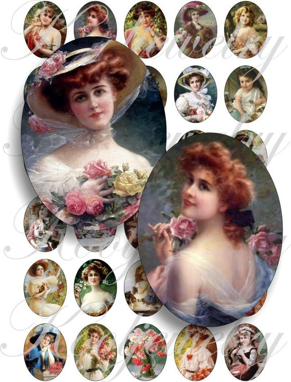 Lovely girls - Emile Vernon 40x30mm oval images for charms, pendant, buttons, scrapbook and more Vintage Digital Collage Sheet No.452