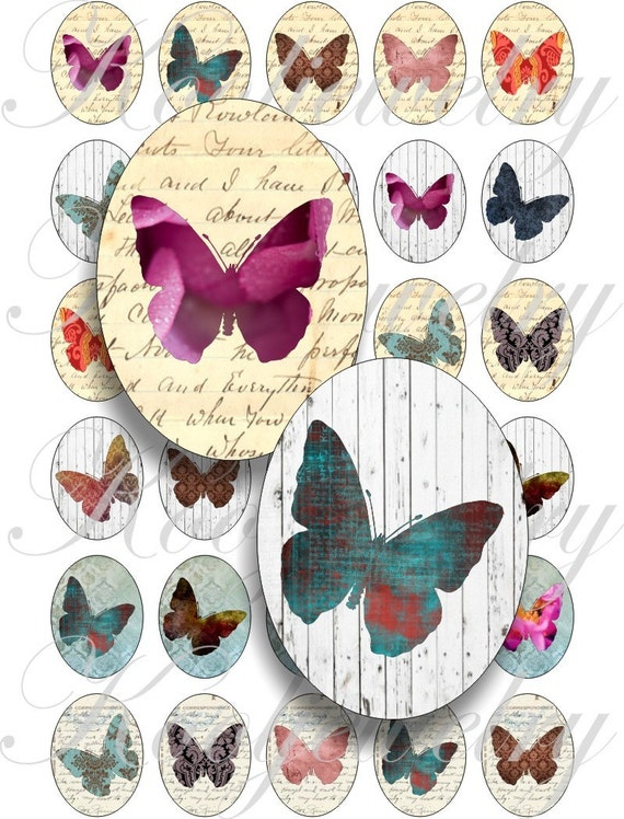 Crazy Butteflies 40x30mm oval images for charms, pendant, buttons, scrapbook and more Vintage Digital Collage Sheet No.504