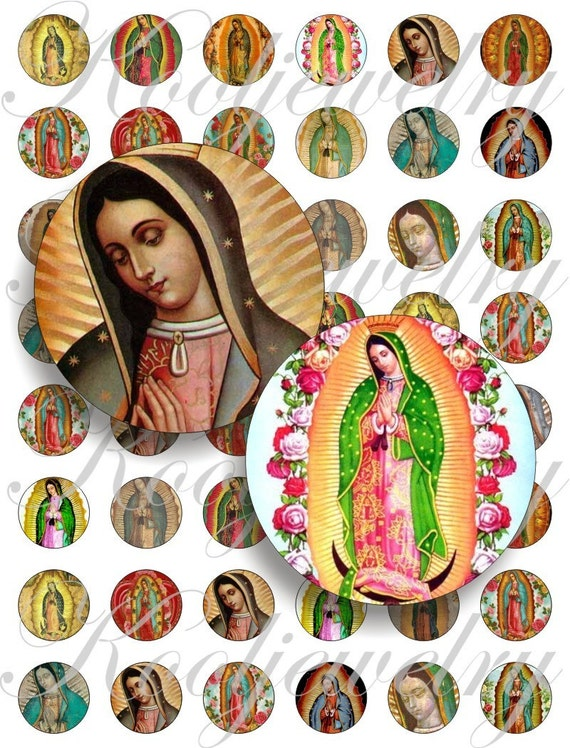 Vigin of Guadalupe for bottle caps, pendant, buttons, scrapbook and more Vintage Digital Collage Sheet No.802