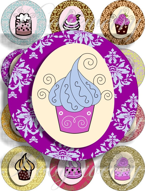 New cute cupcakes images large circles for pocket mirrors and more digital collage sheet No.840