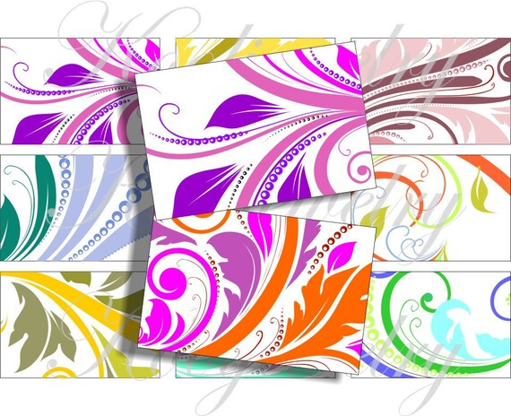 Crazy Swirls images 3x2 inch for belt buckle and more digital collage sheet No.876