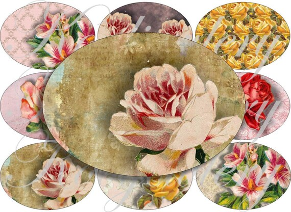 Lovely flowers in large oval for belt buckle and more digital collage sheet No.898