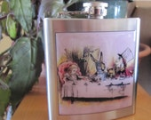Alice In Wonderland Tea Party Liquor Hip Flask Stainless Steel 6 ounce
