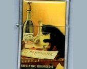 Absinthe Bourgeois CAT Refillable Windproof Flip Top Lighter