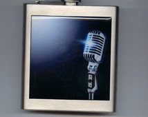 Microphone Vintage Retro 60's Liquor Hip Flask Stainless Steel 6 Ounce