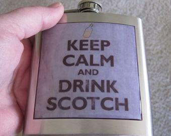 Keep Calm Drink Scotch Liquor Hip Flask