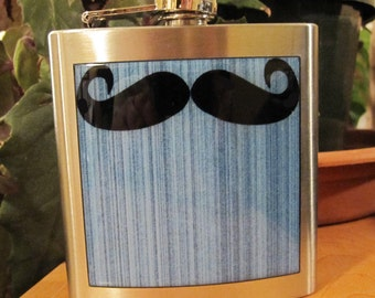 Mustache Hipster Liquor Hip Flask 6 ounce stainless steel