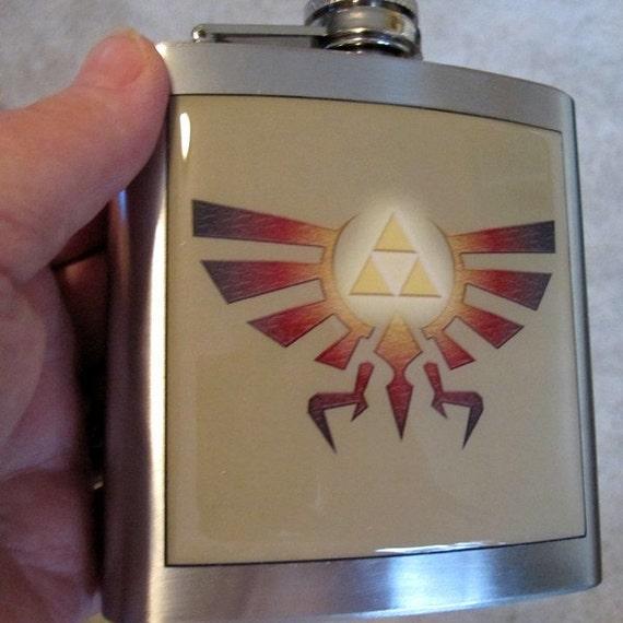 Zelda Family Crest Stainless Steel Liquor Hip Flask 6 oz