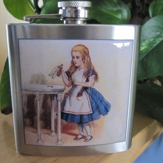 Alice In Wonderland Drink Me Liquor Hip Flask Stainless Steel 6 ounce