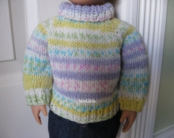Knitting Pattern for 18 inch American Girl Doll .... Easy Top Down Turtleneck Instant Pattern download now available no shipping or waiting