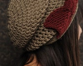 Tie it in a bow slouch -Taupe/Maroon- Merino wool