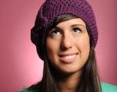Tie-it-in-a-Bow Beanie-Purple-Merino Wool