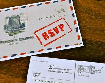 Providence Custom Airmail Postcard Wedding Invitation or Save the Date