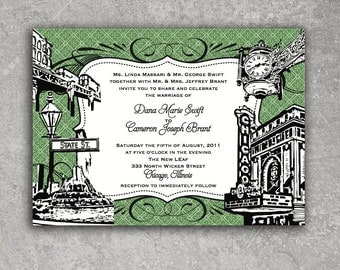 Chicago Wedding Invitation or Save the Date