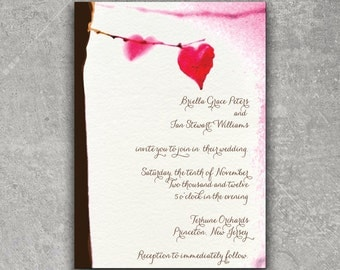 Leaf Heart Wedding Invitation or Save the Date