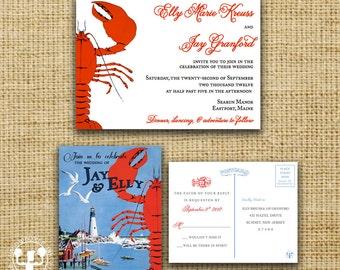 New England Maine Vintage Postcard Wedding Invitation