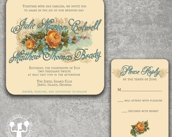 Vintage Rose Floral Wedding Invitation or Save the Date