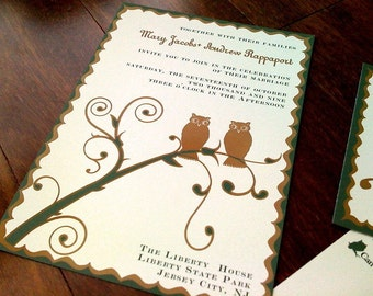 Fall Owl Wedding Invitation or Save the Date