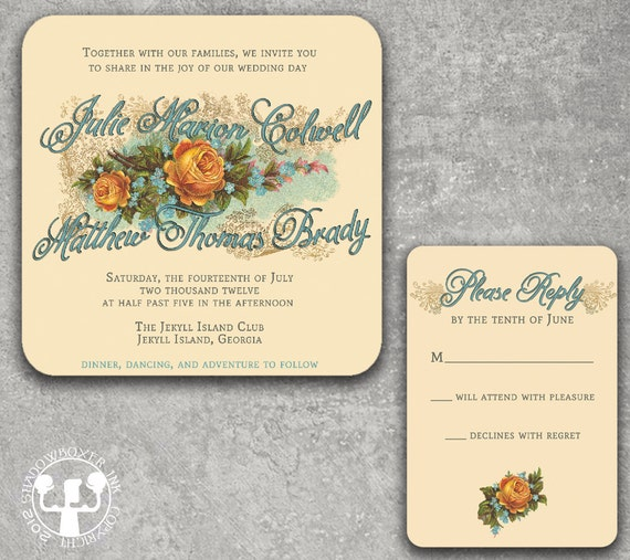 Vintage Rose Floral Wedding Invitation or Save the Date