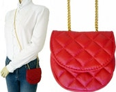Vintage 80s ANN TAYLOR Red Faux Leather Small Shoulder PURSE
