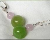 Strawberry Green Apple Sterling Leverback Earrings