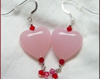 Pretty in Pink Hearts and Dangles Sterling Silver Earrings