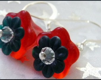 Christmas Flowers--Perfect Holiday Season Earrings--Sterling, Swarovski and Lucite