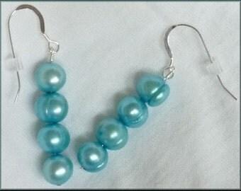 Cool Aqua Blue Sterling Earrings